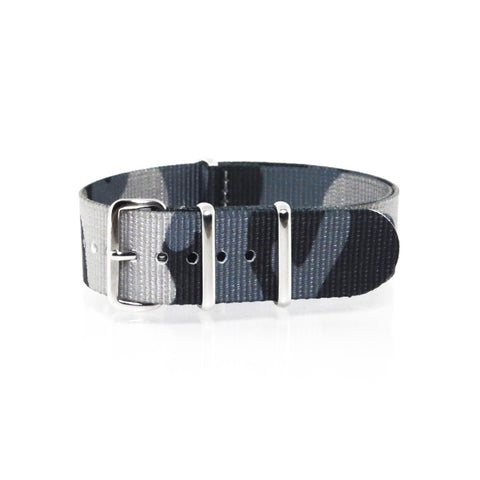 "Blue Camouflage NATO Strap with Polished Silver Buckle ""The Arctic Strap"" - Nato Strap Collections - 1"