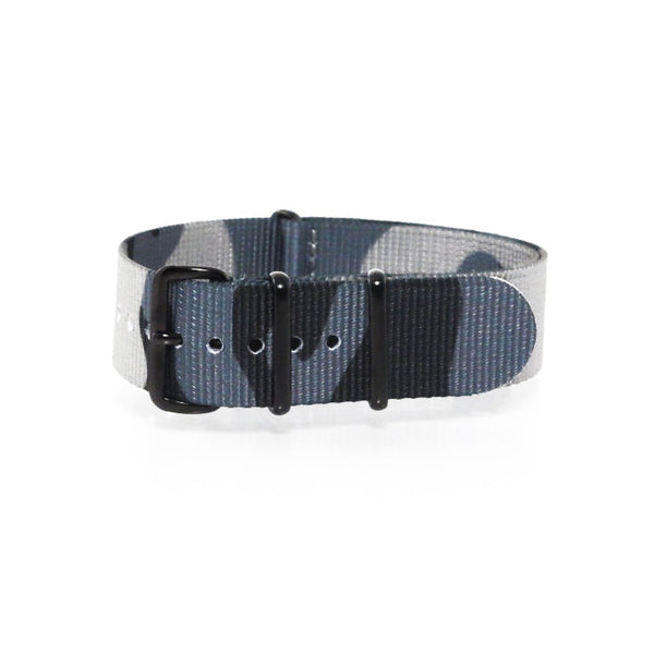 "Blue Camouflage NATO Strap with PVD Black Buckle ""The Arctic Strap"" - Nato Strap Collections - 1"