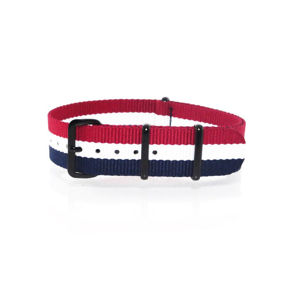 "Blue, White and Red NATO Strap with PVD Black Buckle ""The Aviator Strap"" - Nato Strap Collections - 1"
