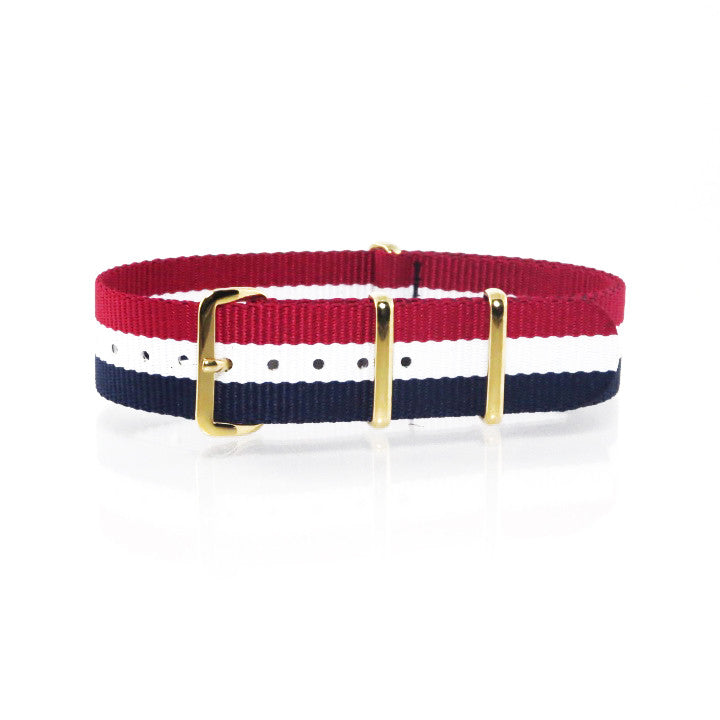 "Blue, White and Red NATO Strap with Gold Buckle ""The Aviator Strap"" - Nato Strap Collections - 1"