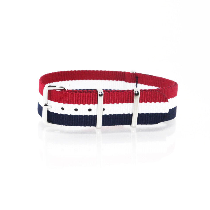 "Blue, White and Red NATO Strap with Polished Silver Buckle ""The Aviator Strap"" - Nato Strap Collections - 1"