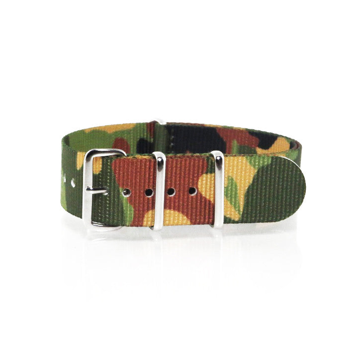 "Green Camouflage NATO Strap with Polished Silver Buckle ""The Guerilla Camo Strap"" - Nato Strap Collections - 1"
