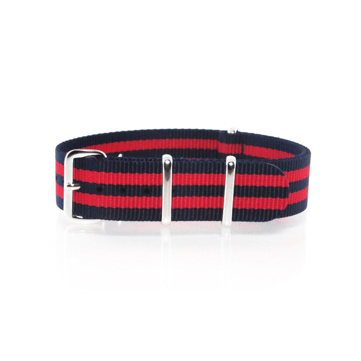 "Navy Blue and Red NATO Strap with Polished Silver Buckle ""The New England Strap"" - Nato Strap Collections - 1"
