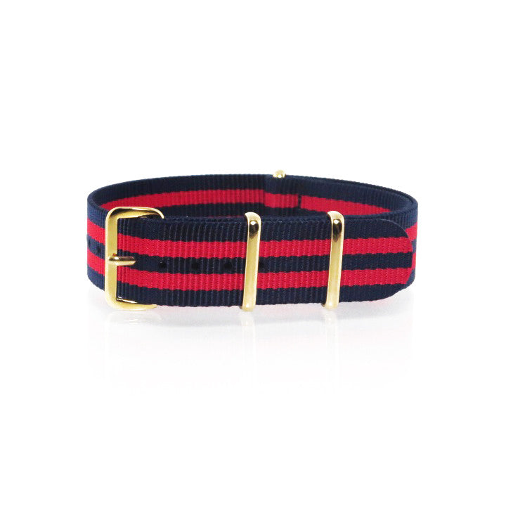 "Navy Blue and Red NATO Strap with Gold Buckle ""The New England Strap"" - Nato Strap Collections - 1"