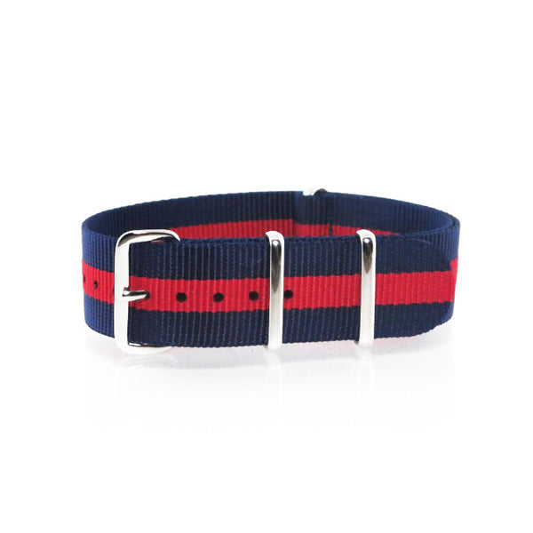 "Navy Blue and Red NATO Strap with Polished Silver Buckle ""The Boston Strap"" - Nato Strap Collections - 1"