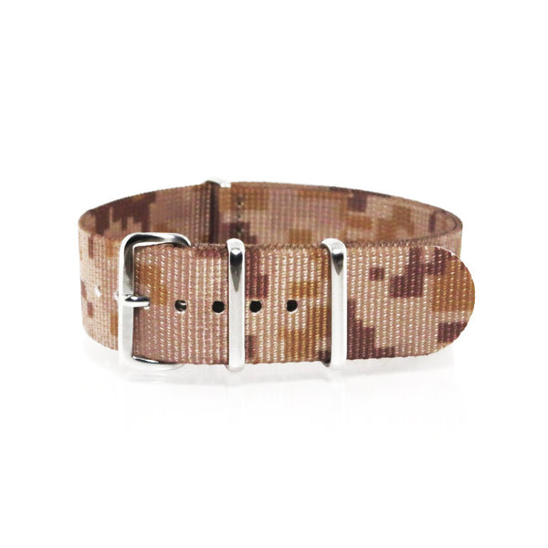 "Tan Camouflage NATO Strap with Polished Silver Buckle ""The Desert Storm Strap"" - Nato Strap Collections - 1"