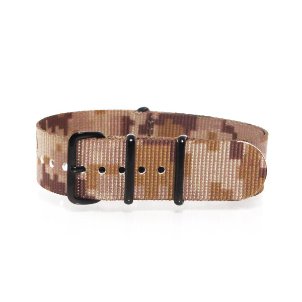 "Tan Camouflage NATO Strap with PVD Black Buckle ""The Desert Storm Strap"" - Nato Strap Collections - 1"