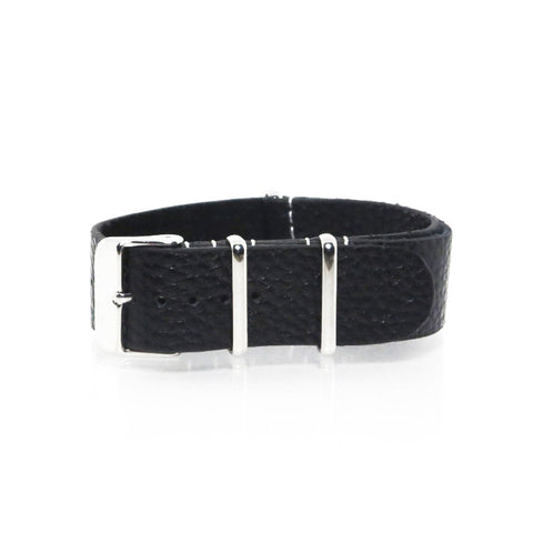 Black Grain Leather NATO Strap with Polished Silver Buckle - Nato Strap Collections - 1