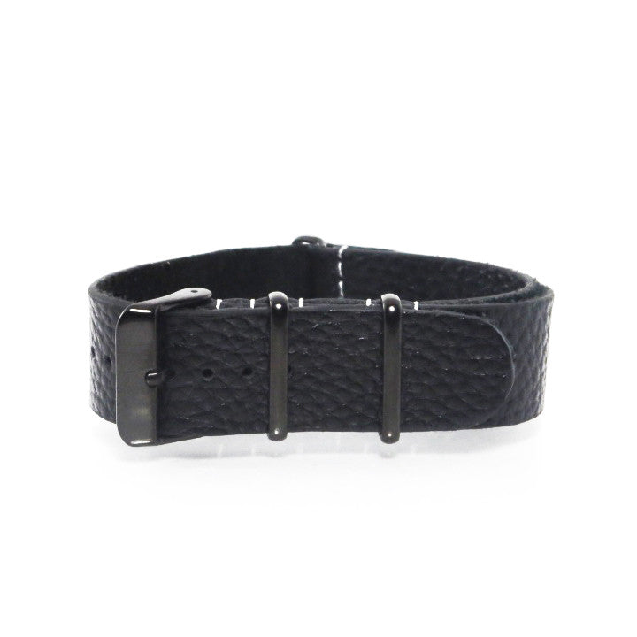 Black Grain Leather NATO Strap with PVD Buckle - Nato Strap Collections - 1