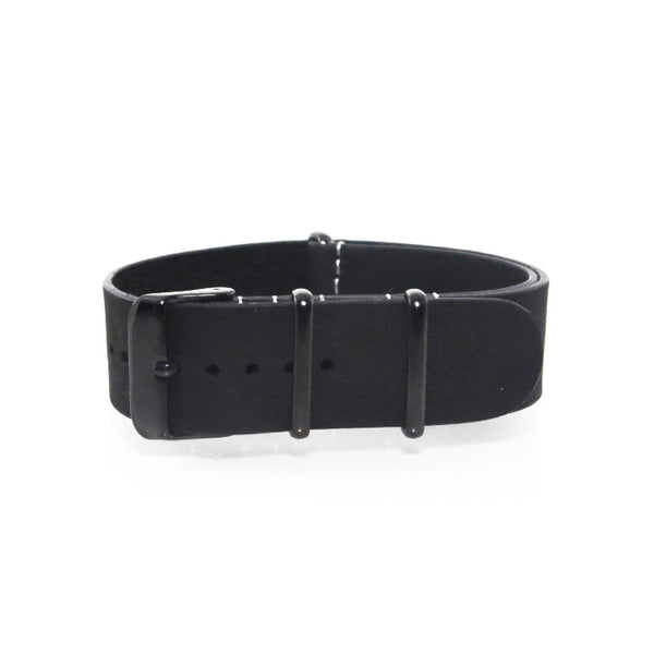 Black Suede Leather NATO Strap with PVD Buckle - Nato Strap Collections - 1