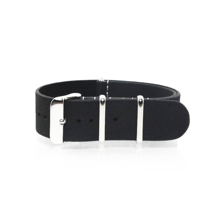 Black Suede Leather NATO Strap with Polished Silver Buckle - Nato Strap Collections - 1