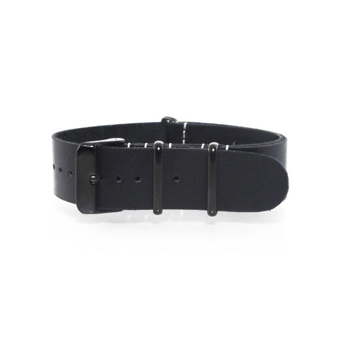 Black Leather NATO Strap with PVD Buckle - Nato Strap Collections - 1