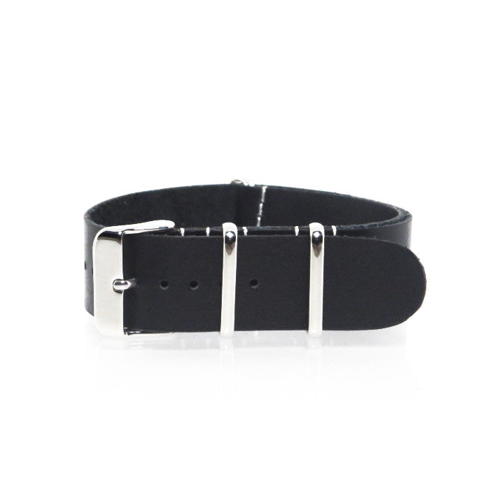 Black Leather NATO Strap with Polished Silver Buckle - Nato Strap Collections - 1