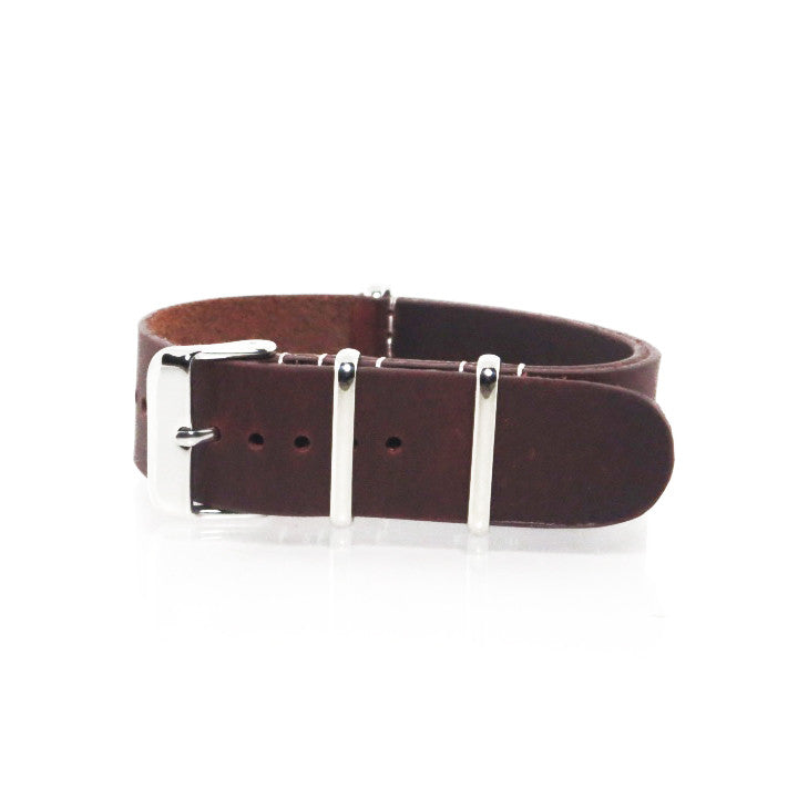 Brown Leather NATO Strap with Polished Silver Buckle - Nato Strap Collections - 1