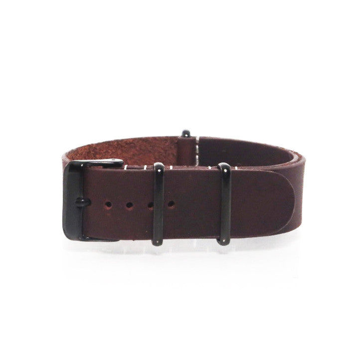 Brown Leather NATO Strap with PVD Black Buckle - Nato Strap Collections - 1