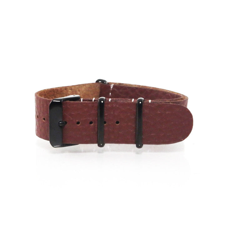 Brown Grain Leather NATO Strap with PVD Black Buckle - Nato Strap Collections - 1