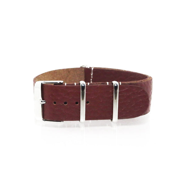Brown Grain Leather NATO Strap with Polished Silver Buckle - Nato Strap Collections - 1