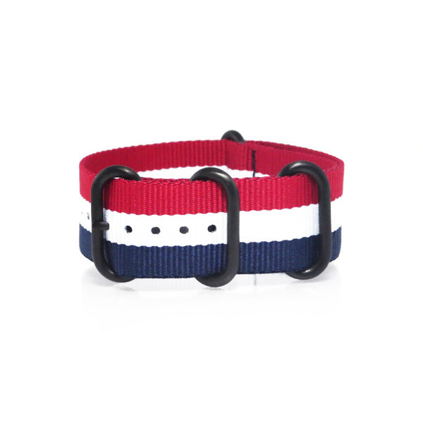 "Blue, White and Red ZULU Strap with PVD Black Buckle ""The Aviator Strap"" - Nato Strap Collections - 1"