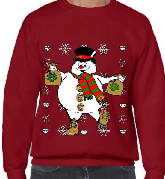 Ugly AZ Xmas Sweater Large Snowman (Red)