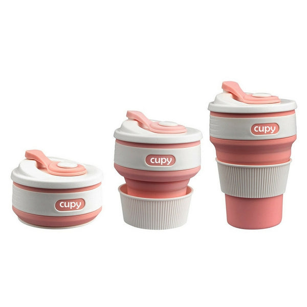 Cupy Collapsible Reusable BPA Free Coffee Cup Baby Pink