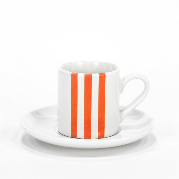 Stripe Espresso Cup Orange - Set of 4