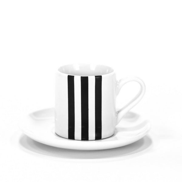 Stripe Espresso Cup Black Monochrome - Set of 4
