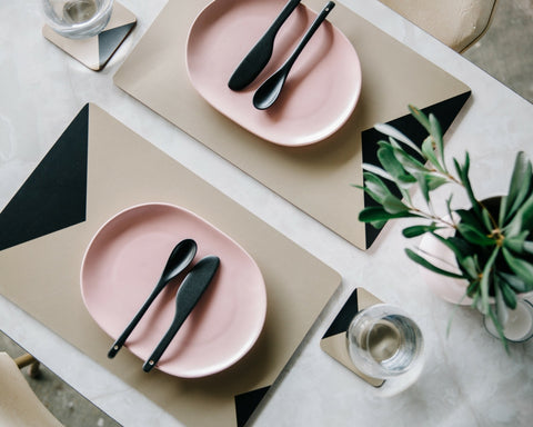 Metallic Gold Placemat - Black and Gold Geometric