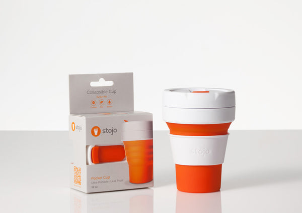 Stojo Pocket Collapsible Cup - Orange with box