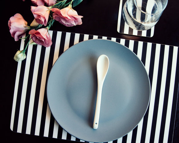 Striped Placemat Black and White