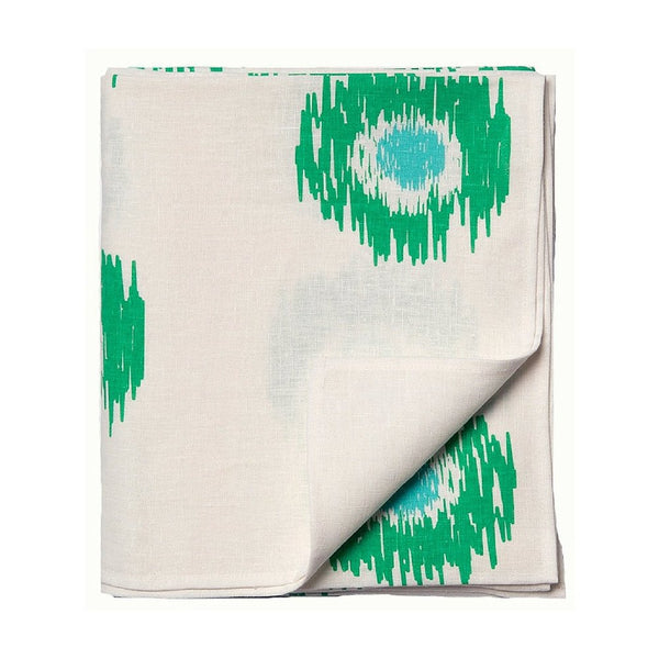 Tableware Aqua Door Designs - Ikat Spot Linen Tablecloth In Sea Green & Aqua