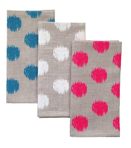 Tableware Aqua Door Designs - Ikat Spot Natural Linen Napkins - Set Of 4