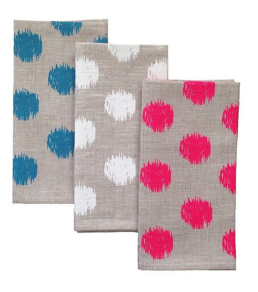 Ikat Spot Natural Linen Napkins - Set of 4