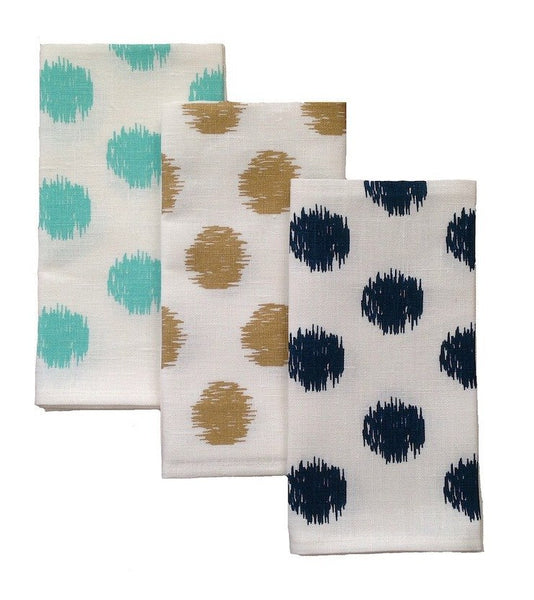 Tableware Aqua Door Designs- Ikat Spot Off-White Linen Napkins - Set Of 4