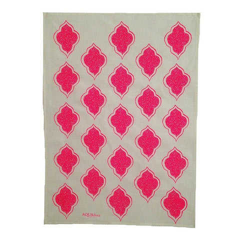 Tableware Aqua Door Designs - Lanterns Linen Tea Towel In Neon Pink