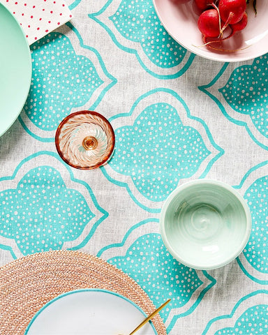 Tableware Aqua Door Designs - Lanterns Linen Tablecloth In Aqua