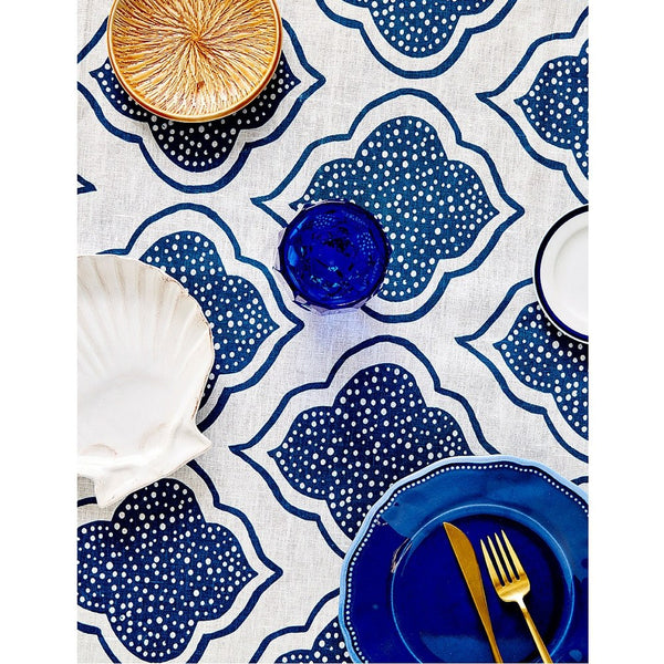 Tableware Aqua Door Designs - Lanterns Linen Tablecloth In Navy