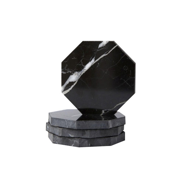 Tableware - Marble Octagon Coasters - Black