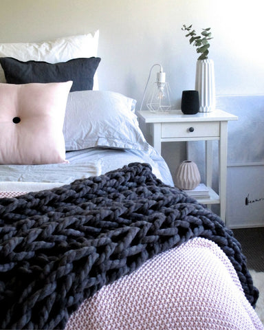 Throw - Merino Wool Chunky Throw - Charcoal Bedding