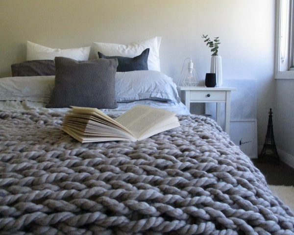 Throw - Merino Wool Chunky Throw - Misty Grey Bedding Knit