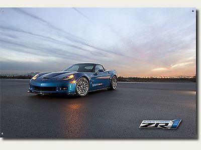 Corvette Blue ZR1 Sign with Sunset Background and Logo