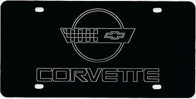 Corvette C4 Logo on a Black Aluminum Corrosion Resistant License Plate Sign