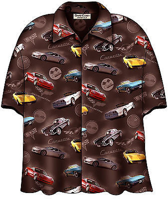 Chevrolet Corvette 6 Generations Hawaiian Bowling Camp Shirt by David Carey