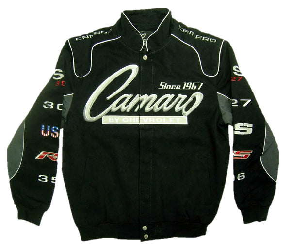 Chevrolet Camaro Men's Black Twill Jacket with Embroidered Logos by JH Design