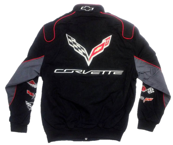 Chevy Corvette Collage Mens Black Twill Jacket by JH Design, Medium, Black