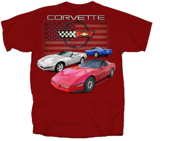 C4 Corvette Red, White, and Blue with Flag Short Sleeve T-Shirt by Joe Blow T's