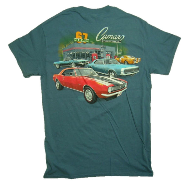 "Camaro ""67 HEAVEN"" Gas Service Station Graphic Print Short Sleeve T-Shirt"