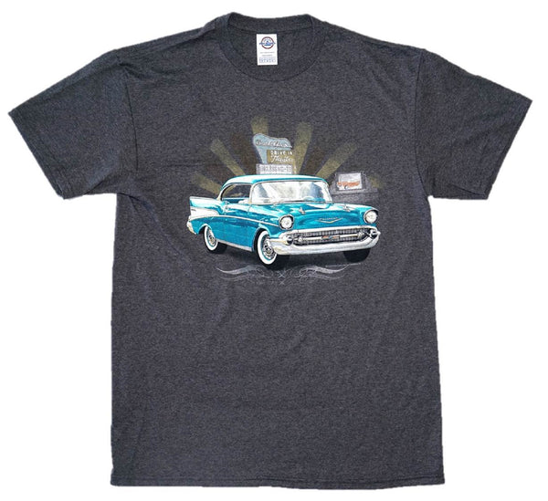 Chevy Bel Air Burst Drive-in Theater Chevrolet Heather Graphic Print T-Shirt