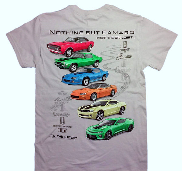 """NOTHING BUT CAMARO"" Ice Grey 100% Cotton Short Sleeve Graphic Print T-Shirt"