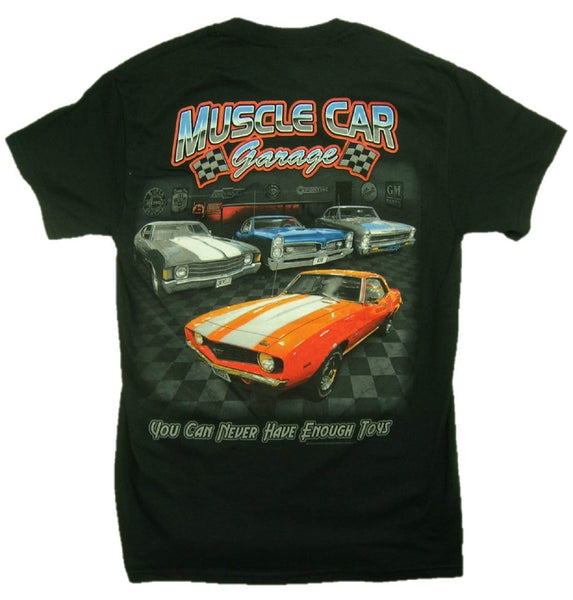 "Camaro ""Muscle Car Garage"" 100% Cotton Black Short Sleeve Graphic Print T-Shirt"
