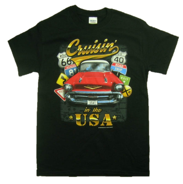 "57 Chevy ""Cruisin' in the USA"" 100% Cotton Graphic Print Short Sleeve T-Shirt"